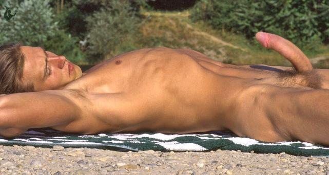 Naked male sunbathing